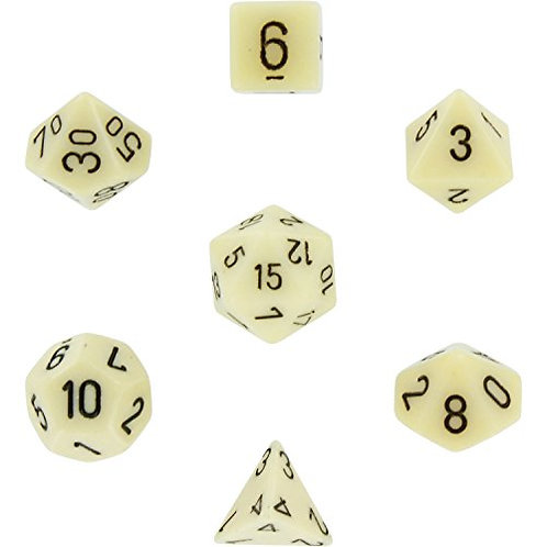 Chessex Opaque Ivory/ Black Polyhedral 7 - Die Set 25400