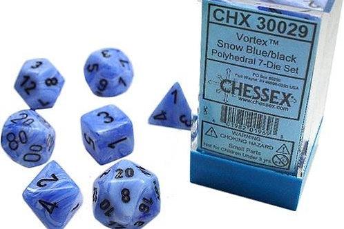 Chessex Lab Dice Vortex Snow Blue/Black 7 Die Set 30019