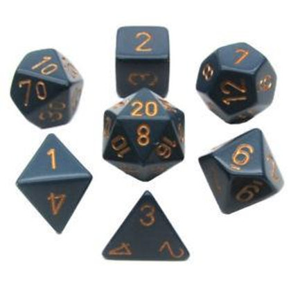 Chessex Opaque Dusty Blue/ Copper Polyhedral 7 - Die Set 25426