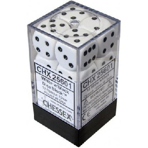 Chessex Opaque White/ Black 12D6 - Die Set 25601