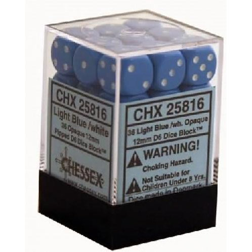 Chessex Opaque Light Blue/ White 36D6 - Die Set 25816