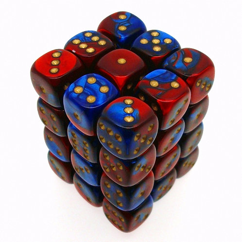 Chessex 26829 36 Blue-Red/Gold Gemini 12mm pipped d6 dice block