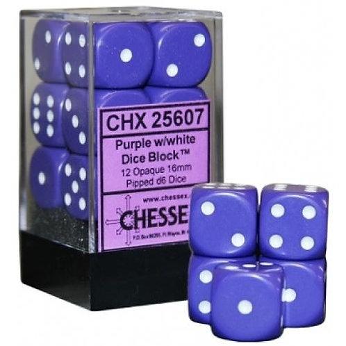 Chessex Opaque Purple/ White 12D6 - Die Set 25607