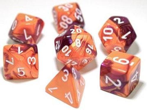 Chessex Lab Dice Gemini Orange-Purple/White 7 Die Set 30021