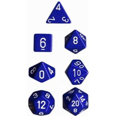 Chessex Opaque  Blue / White Polyhedral 7 - Die Set 25406