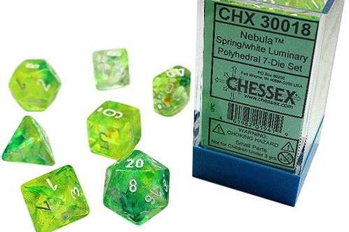 Chessex Lab Dice Nebula Spring/White 7 Die Set 30018