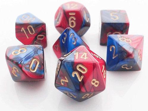 Chessex 26429 Blue-Red/Gold Polyhedral 7 Die Set
