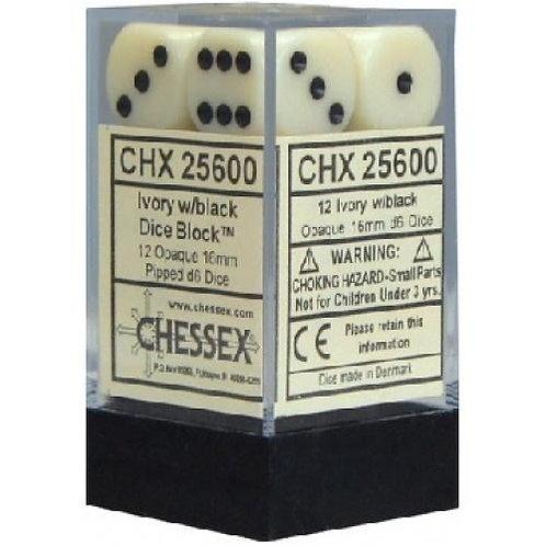 Chessex Opaque Ivory/ Black 12D6 - Die Set 25600