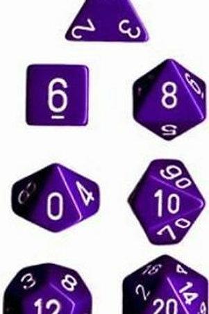 Chessex Opaque Purple / White Polyhedral 7 - Die Set 25407