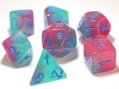 Chessex Lab Dice Gemini Gel Green-pink/Blue 7 Die Set 30023