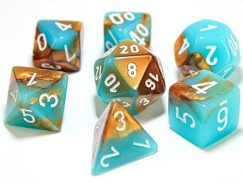 Chessex Lab Dice Gemini Copper-Turquoise/White 7 Die Set 30019