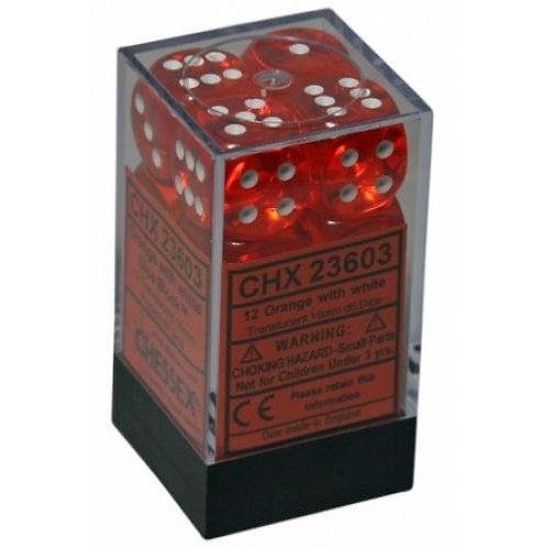 Chessex Translucent Orange/White 12D6 Die Set 23603