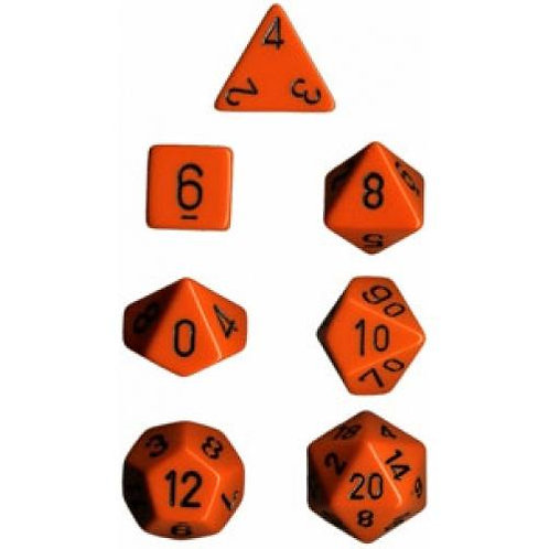 Chessex Opaque Orange / Black Polyhedral 7 - Die Set 25403