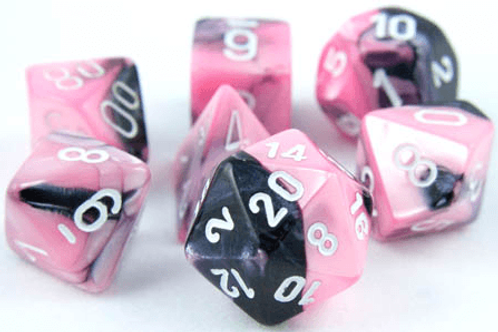 Chessex 26430 Gemii Black-Pink/White Polyhedral 7 Die Set