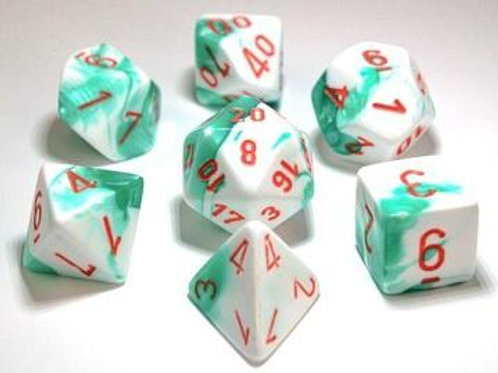 Chessex Lab Dice Gemini Mint Gree-White/Orange 7 Die Set 30020