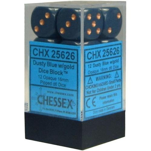 Chessex Opaque Dusty Blue/ Copper 12D6 - Die Set 25626