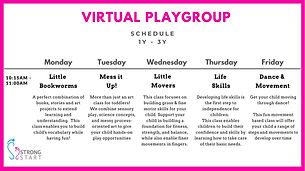 Strong Start Virtual Playgroup Schedule