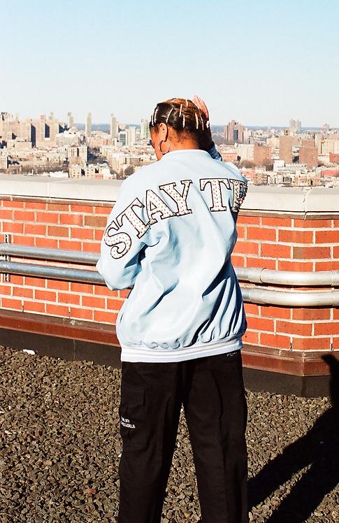 LAFOI x IAM. Stay True Sky Blue Leather Jacket