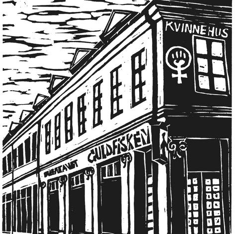 Kvinnehuset, Linoleumstrykk, Inge Ås
