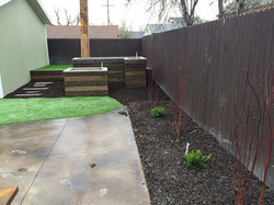 outdoor living space with dog area