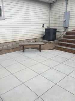 custom concrete, stairs, bench