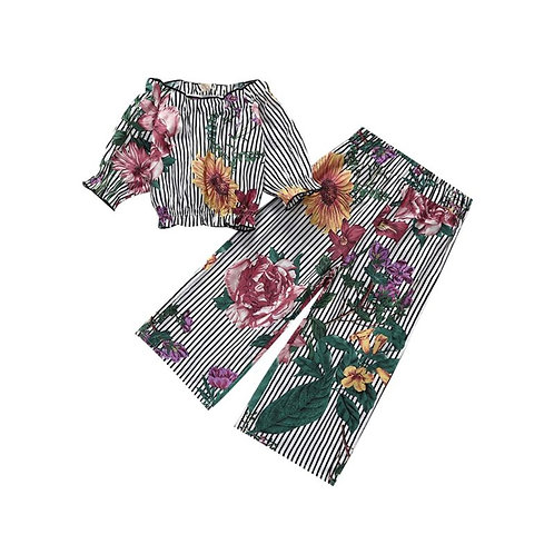 2 Piece Flower Off Shoulder Top Matching Pants