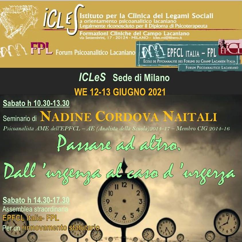 12-13 giugno: Seminario di Nadine Cordova Natali; caso clinico