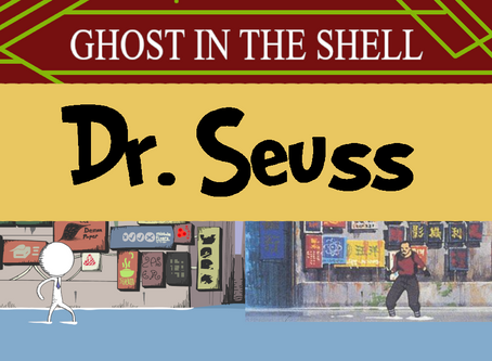Ghost in the Shell Scene in a Dr. Seuss Art Style