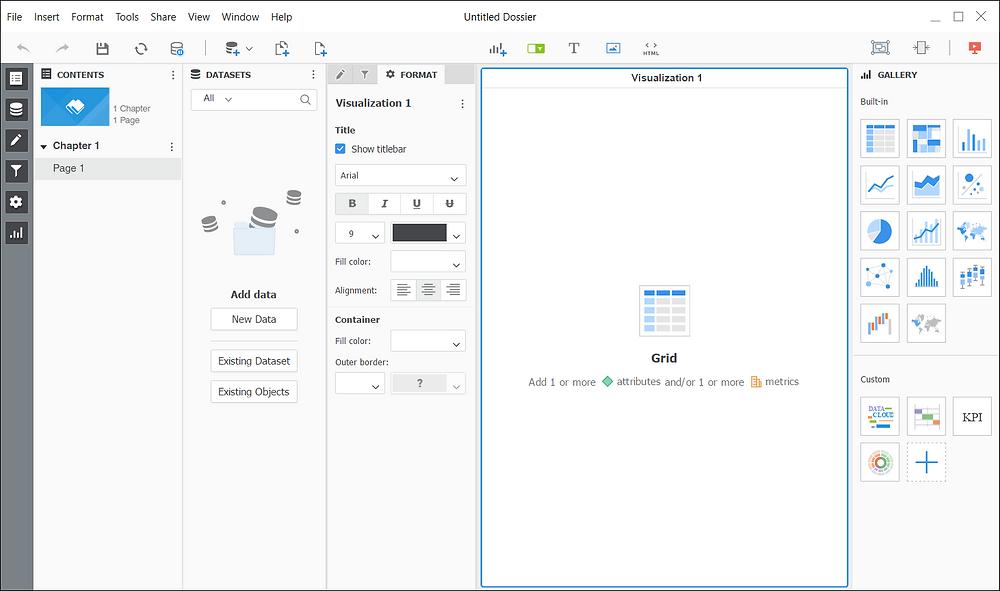 MicroStrategy Dashboard UI