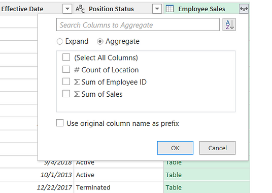 Power Query: Merged Tables, Aggregate and Non-Aggregate
