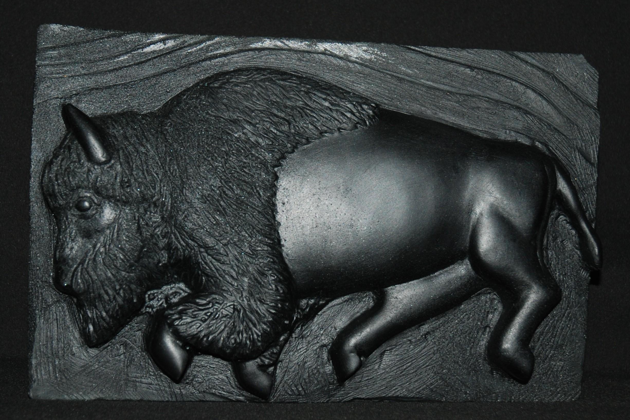 Running Bison in medium relief