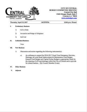 Budget Committee Meeting Agenda - April 13