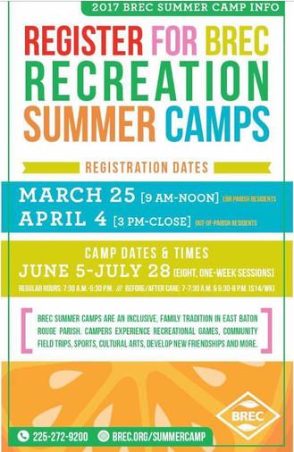 BREC Summer Camp Registration in Central