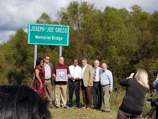 Central Thruway Bridge dedicated to the late Joe Greco