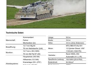 Panzertypenblatt: Bergepanzer Büffel (BPz Büffel) der Schweizer Armee