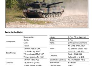 Panzertypenblatt:  Panzer 87 WE (Pz 87 WE) der Schweizer Armee