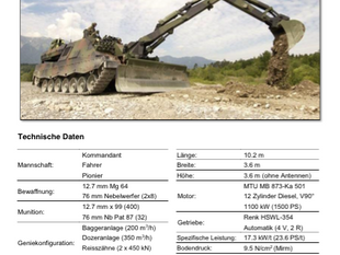 Panzertypenblatt: Genie- und Minenräumpanzer Leopard (G/Mirm Pz Leo) der Schweizer Armee