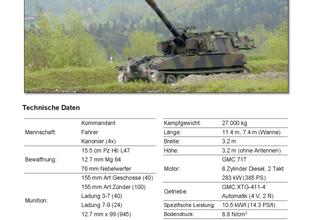 Panzertypenblatt: Panzerhaubitze M109 Kampfwertgesteigert (Pz Hb M109 KAWEST) der Schweizer Armee