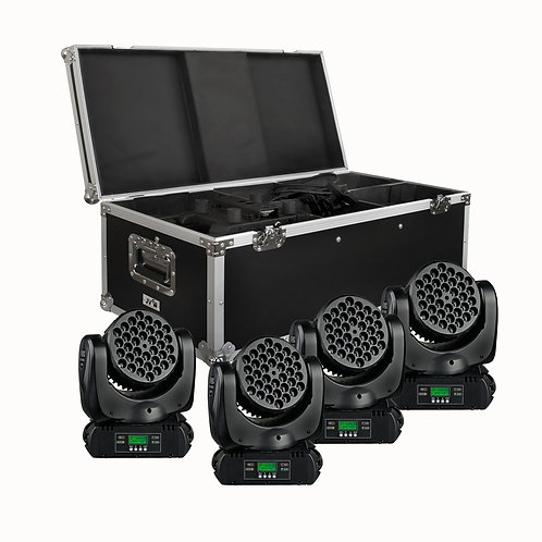 MOVING HEAD BT-W36 L3 4er-Set im Transportcase, inkl. Controller