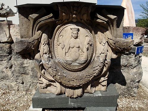 Das Familienwappen der Vischer aus Basel mit zweischwänzigen Meerjungfrau (Melu