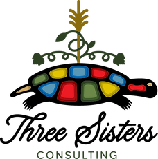 Turtle provides base for corn plant, bean plant and squash plant representing indigenous story