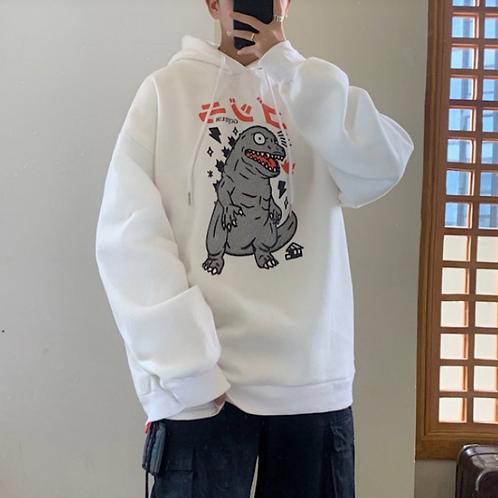 Hooded loose sweatshirt