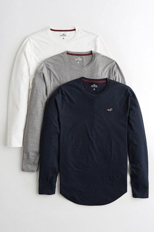 Hollister Three T-Shirts Long Sleeve