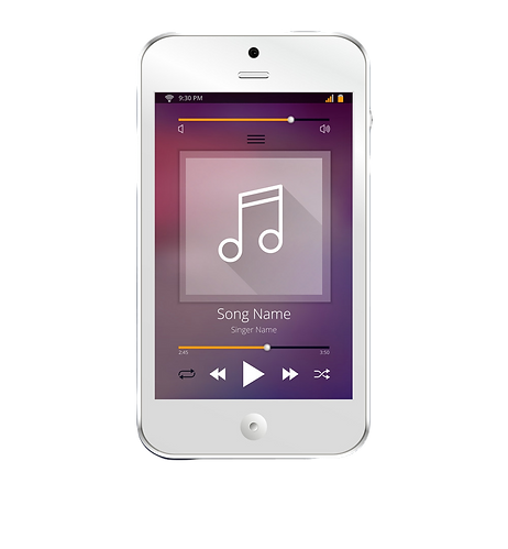 smartphone-with-music-player-application