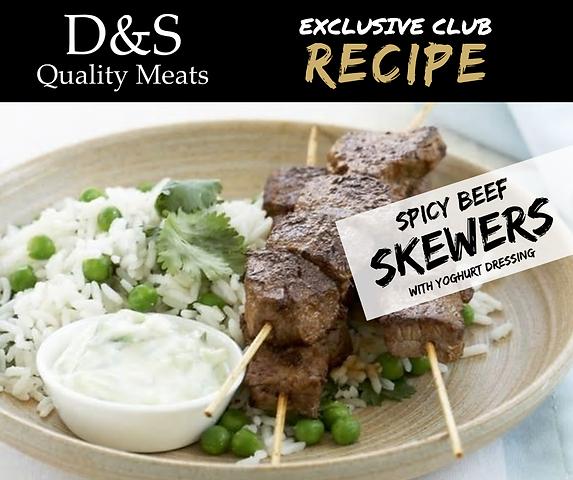 D&S Recipe Tile-Spicy Beef Skewers + Yog