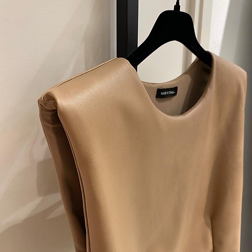 Leather look top camel