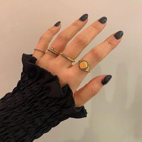 RING BUBBLE WITH STONES BLACK