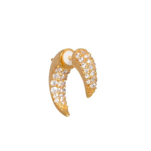 Single pavé tusk earring