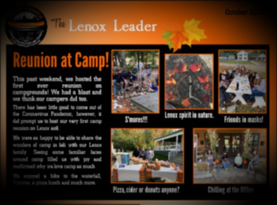 Hot Off the Press! Our 1st Issue of the Lenox Leader...read on!