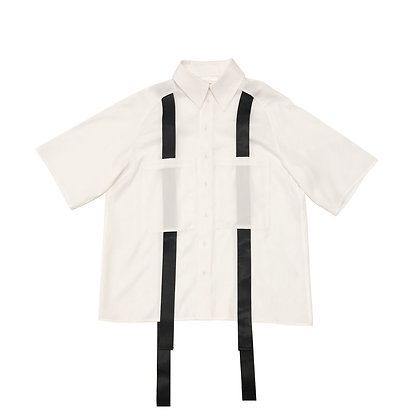 White Semi-Sleeve Ribbon Shirt